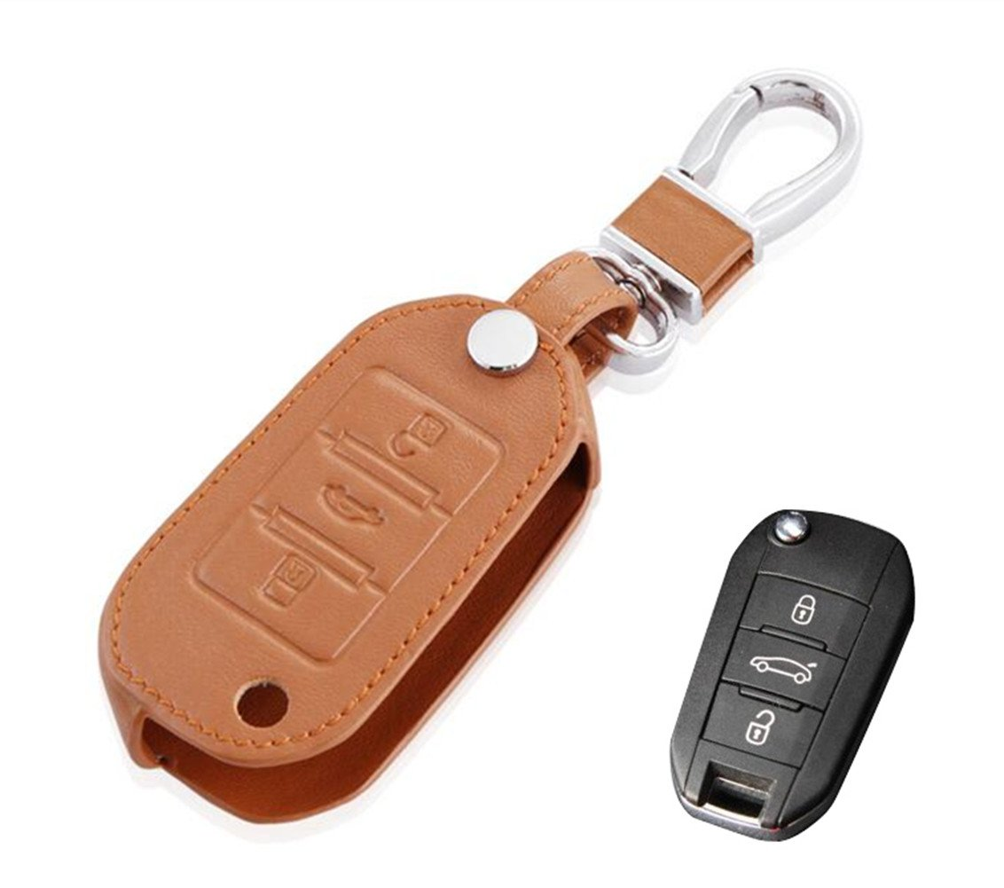 Happyit Leather Car Remote Control Key Cover Case Red Line for 407 308 3008 508 207 208 307 408 301 Key 3 Button Protector
