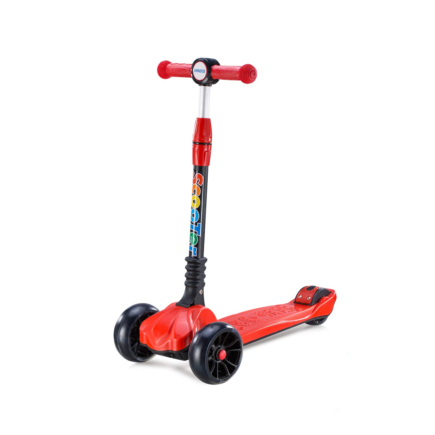 Scooters for Kids-4 Adjustable Height 3 Wheels Stable Kick Scooters for kids with Flashing PU Wheels-Foldable and No Assembly Required Mini 3 wheel Kids Scooter for Boys Girls 3-12 Years Old,Red