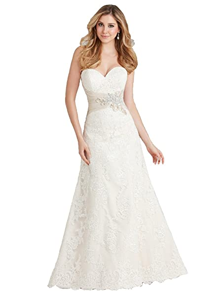 Allure 2569 Ivory/Lt Gold/Silver size 8 In Stock Bridal Gown Wedding ...