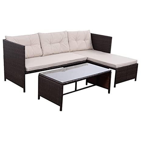 Perfect Tangkula 3 PCS Outdoor Rattan Furniture Sofa Set Lounge Chaise Cushioned  Patio Garden