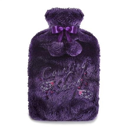 Hot Water Bottle in Luxury Faux Fur with Pom Pom