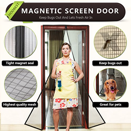 "Black Magnetic Screen Door with Heavy Duty Mesh Screen and Full Frame Velcro-Keep Bugs Out,Let Fresh Air In.Fly Screen Door Mesh Is Bulit Tough,Close Automaticlly.Fits Door Openings Up To 34""x82"" Max."