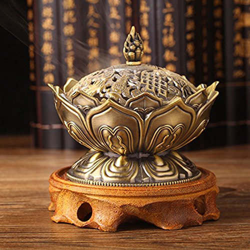 KICODE Lotus Incense Burner Holder in Chinese Tang Style-Antique Brass