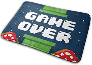 Omigge Bathroom Rug Mat (24 X 16 Inch),Extra Soft and Absorbent Rugs, Machine Wash/Dry,Floor Mats for Tub, Shower and Bath Room Game Over Mario Pipes Retro Bath Mat
