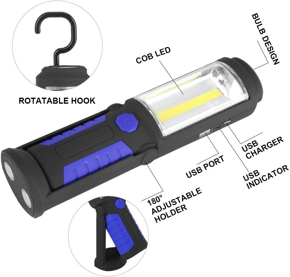 LED luz de trabajo magn/ético Soporte de Linterna con soporte port/átil COB l/úmenes 360 inal/ámbrico bater/ía Linterna con USB cable de carga ideal para acampada taller del autom/óvil