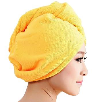 Toalla en forma de gorro Transer para secar el cabello, de microfibra, para damas, accesorio para el baño, amarillo, talla única: Amazon.es: Deportes y aire ...