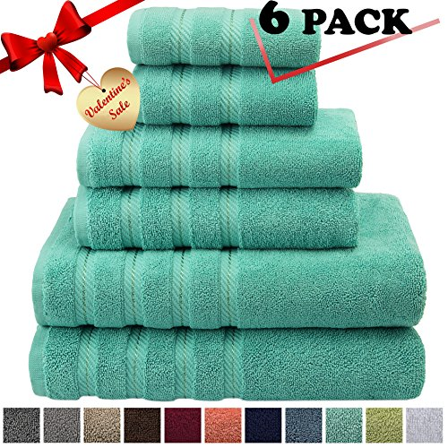 Single Hinge Hooks (Premium, Luxury Hotel & Spa, 6 Piece Towel Set, Turkish Towels 100% Cotton for Maximum Softness and Absorbency by American Soft Linen, [Worth $78.95] (Aqua Blue))