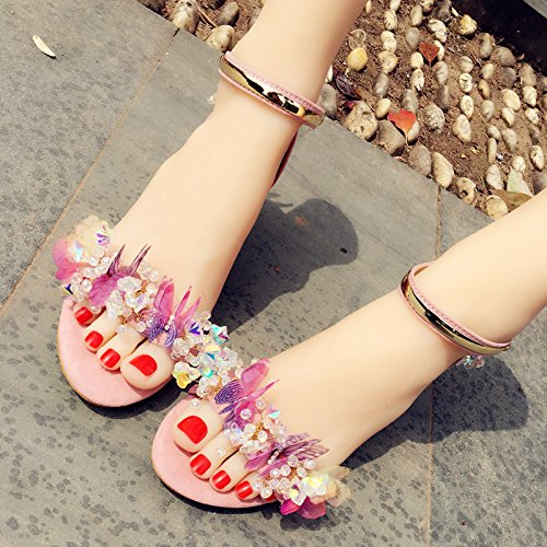 Metal Holiday Heelcrystal Prom Shoes VIVIOO Color Sandals Buckle Beauty High Sandals Diamond Sandals Butterfly Shoes Strap Handmade Pink 6 qgR1Fwq