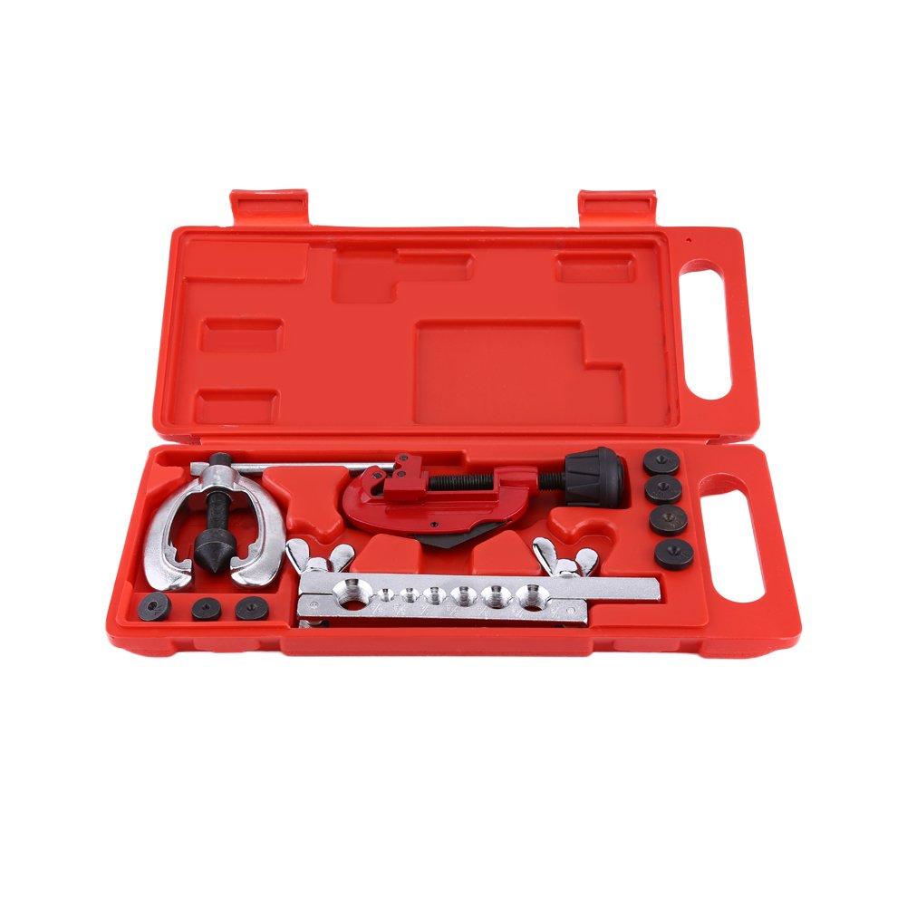 Kit 10pcs Outils d'Evasement de Tuyau de Frein, Mini Coupe-tube avec 7pcs Matrices (Kit de 10pcs) GOTOTOP