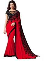 Krishna Emporia Women's Georgette Embroidered Saree with Blouse Piece - KE Sarees 81_Red_Free Size