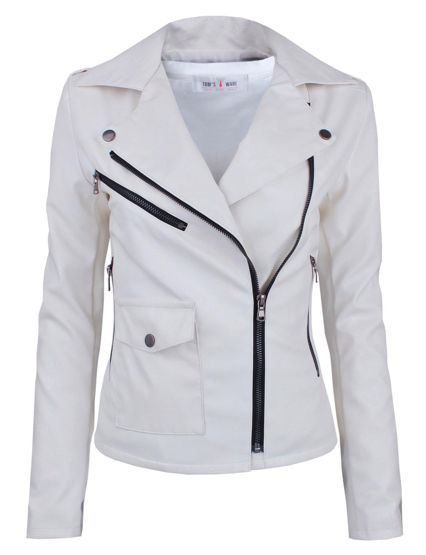 Tom's Ware Women's Fashionable Asymmetrical Zip-up Faux Leather Jacket TWPJW01-02-WHITE-US S