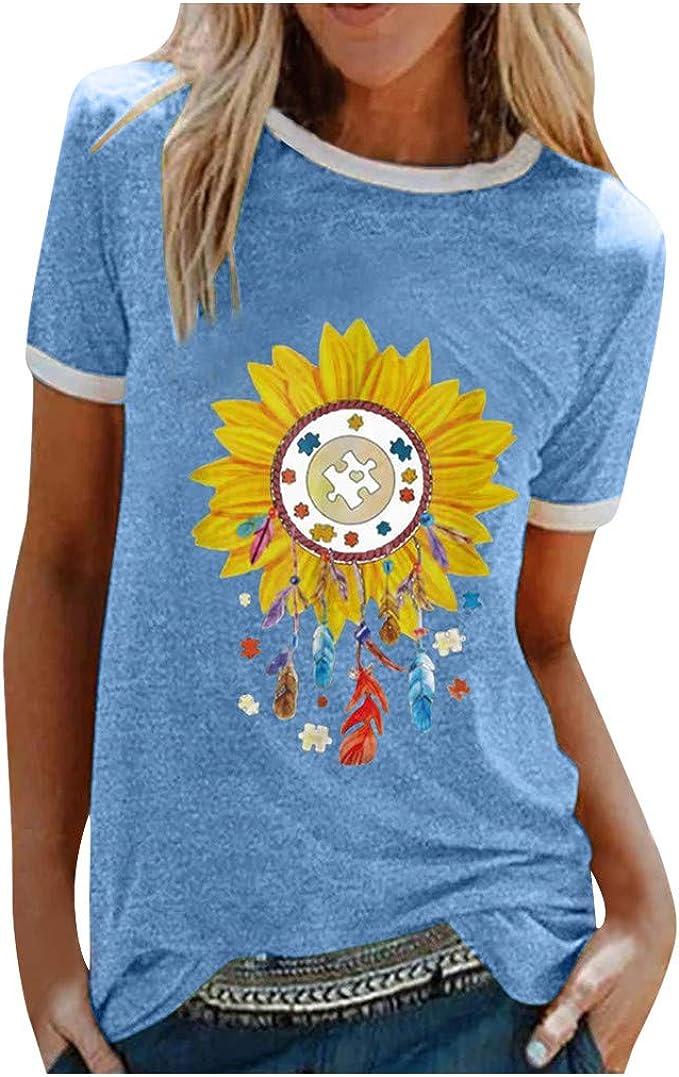 Allence Damen Tee Rundhals Kurzarm Basic T-Shirt Sonnenblume Drucken Tops Modisch Casual Sommertop Lose Kurzarmshirt