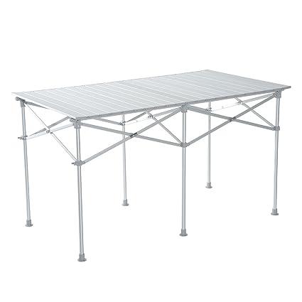 Color Camping De Material Para Plateado Homcom 124x70x68cm Aluminio Terraza Jardín Plegable O Mesa 6Yby7gf