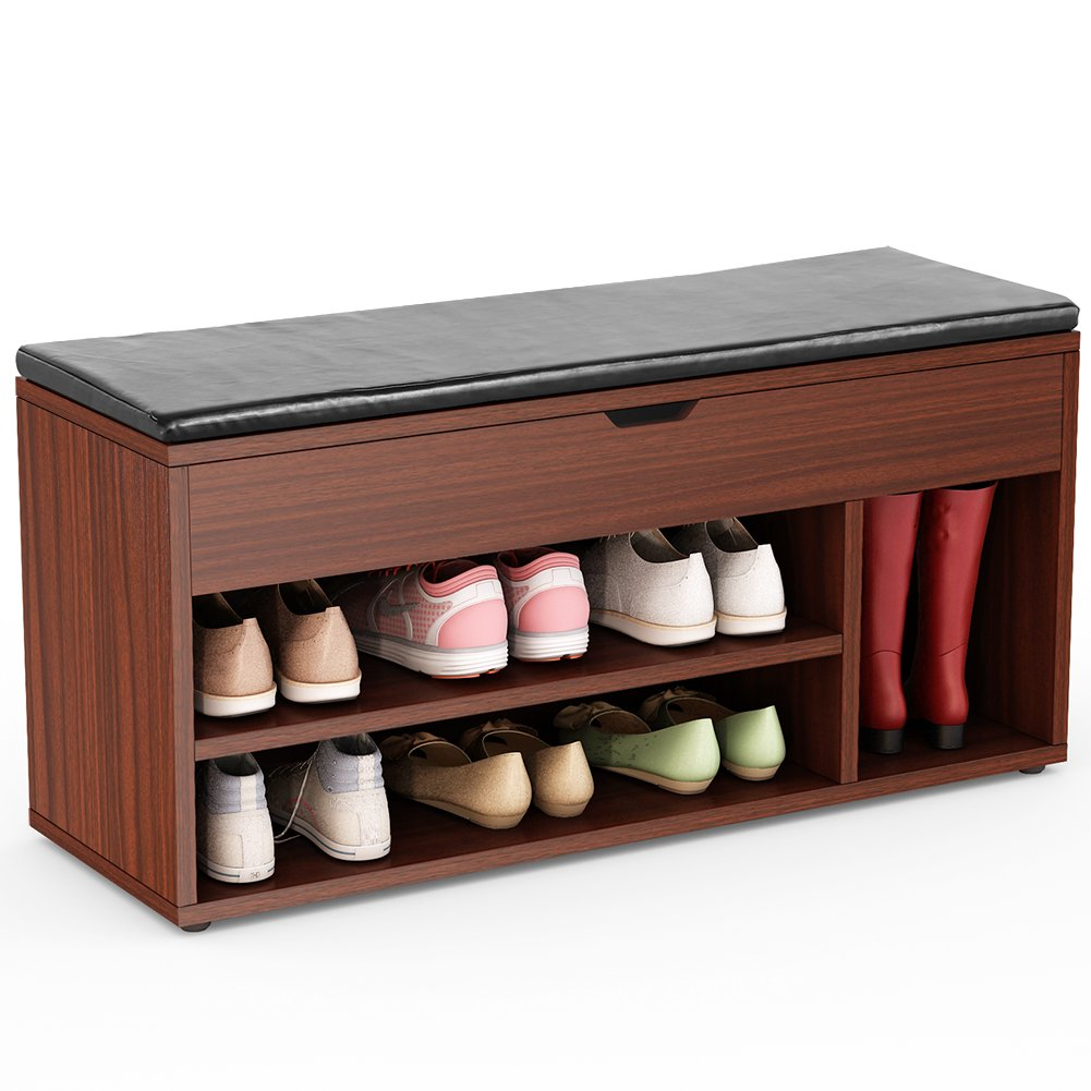 Tribesigns Storage Bench Upholstered Shoe Rack Hall Bench for Entryway, Hallway, Bedroom (Teak)