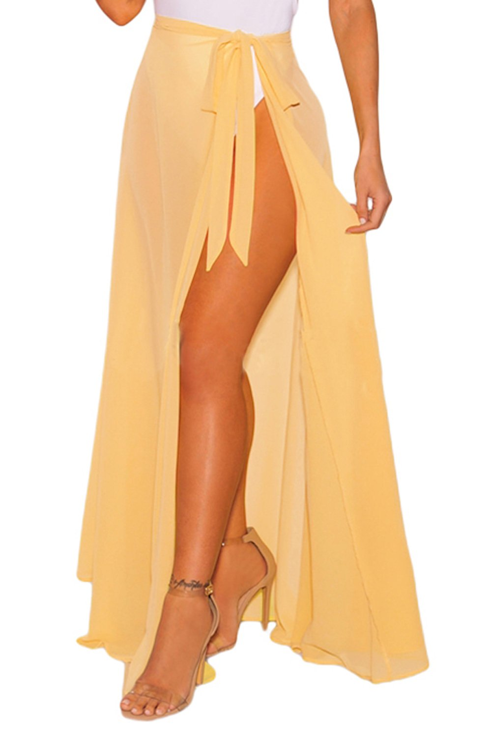 FUSENFENG Womens Wrap High Waist Summer Beach Cover Up Long Maxi Skirt (Yellow, One Size)