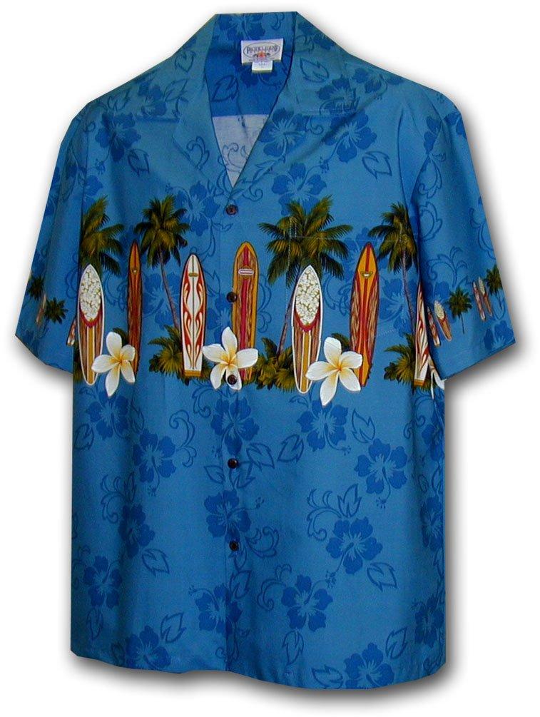 Hawaiian Shirt for Boys - Blue w/ Surf Board Border, Large