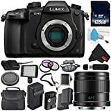 Panasonic Lumix DC-GH5 Mirrorless Micro Four Thirds Digital Camera (Body Only) + Panasonic Lumix G 42.5mm Lens (International Version) + 128GB Class 10 Memory Card Bundle