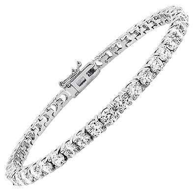 b7949edd7 Jade Marie Friendly Silver Cubic Zirconia Bracelets 4 Prong Setting,  Beautiful 18k White Gold Plated Tennis Bracelet Round Cut CZ Stones, Fancy  Crystal ...