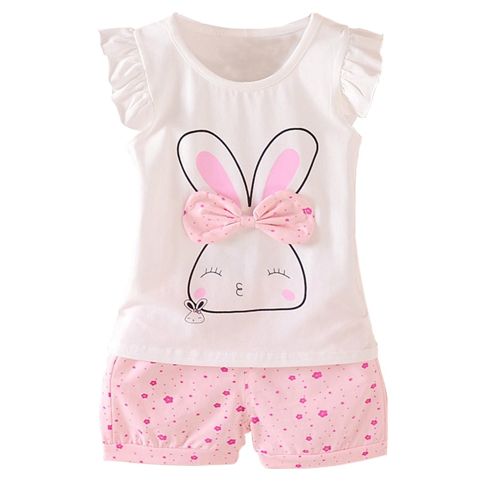 Baby Girl Clothes Summer Outfits Short Sets 2 Pieces with T-Shirt + Short Pants (T-Pink, 18-24 Months)