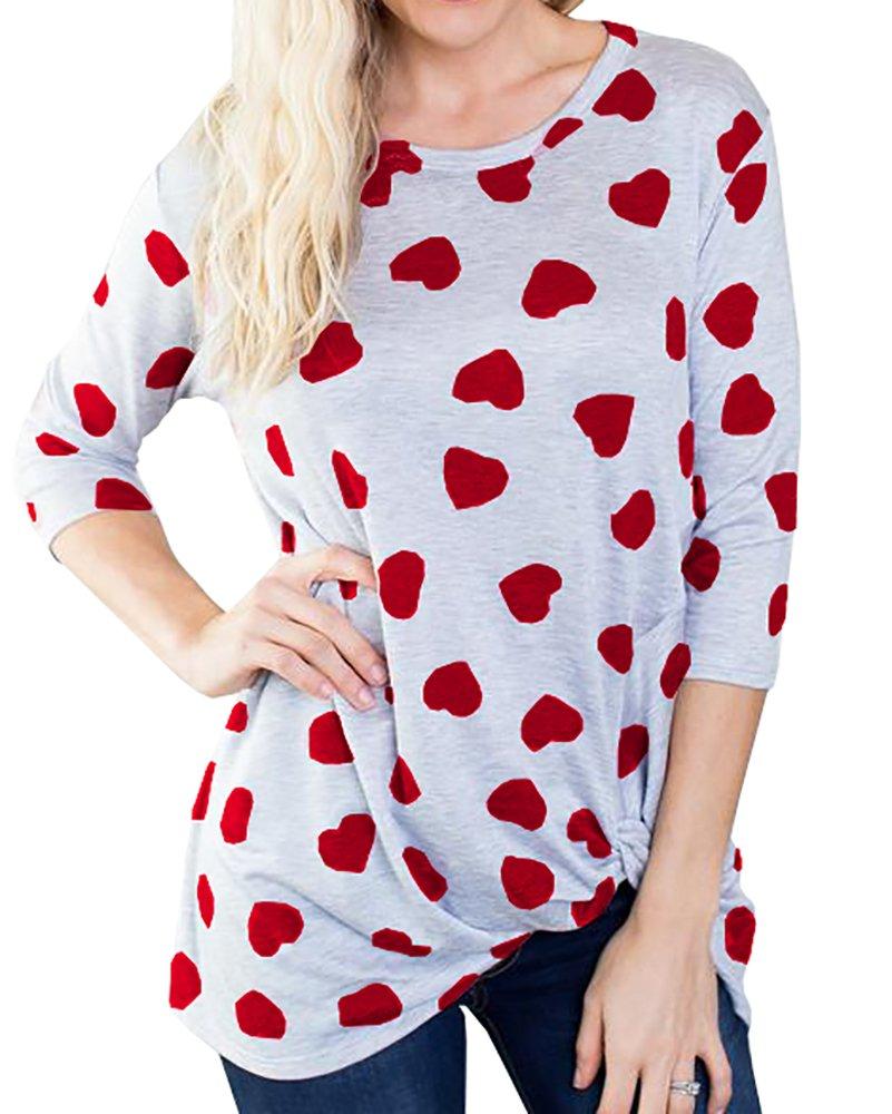 Ermonn Women Tops Heart Pattern Long Sleeve Pullover Shirt Lightweight Sweatshirt Blouse (Medium, Red1)