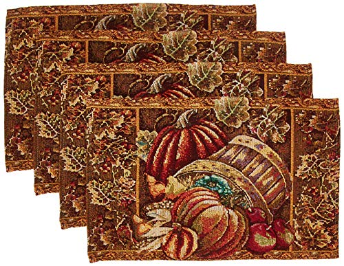 HomeCrate Fall Harvest Collection, Tapestry Bushel Basket Pumpkins Apples and Grapes Design Set of 4 Placemats, 13