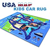 """2018 Kids Rug Area Play Mat Car Carpet with Road 4' 11"""" X 2' 7"""" Map of USA--High Definition(HD) with Non-Slip Backing Nontoxic for Playroom Bedroom Classroom Toy & Game"""