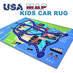 "2018 Kids Rug Area Play Mat Car Carpet with Road 4' 11"" X 2' 7"" Map of USA--High Definition(HD) with Non-Slip Backing Nontoxic for Playroom Bedroom Classroom Toy & Game"