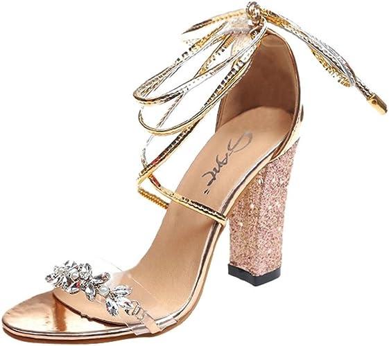 Beautyjourney Sandales Ete Sandales Diamant Femme Talon