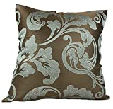 OSVINO 2 Pack European Style Floral Patterns Square 20''x20'' Throw Pillowcase Candy Round Roll Bolster Cover Home Hotel Bed Sofa Pillow Sham Cushion Case Décor Luxury Elegant Smooth, Grey2 20''x20''