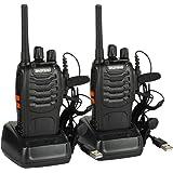 Baofeng BF-88E PMR Funkgerät Set, PMR 446 Walkie Talkie UHF 16 Kanäle Reichweite 3 KM Handfunkgerät mit USB Anschluß und Headset, Lizenzfrei (Ein Paar, Schwarz)