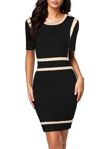 Miusol Women's Scoop Neck Optical Illusion Business Bodycon Dress