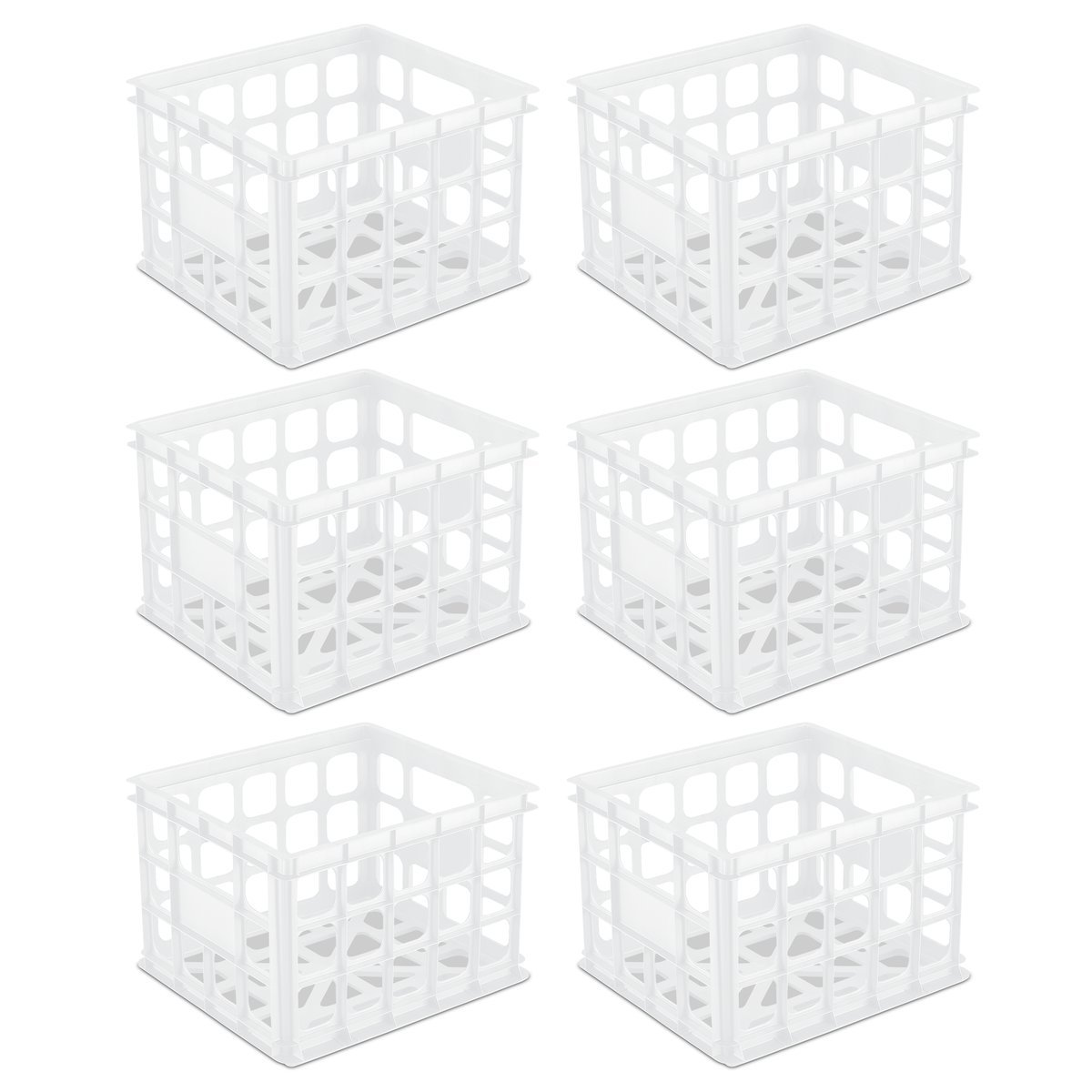 Sterilite 16928006 Storage Crate, White, 6-Pack