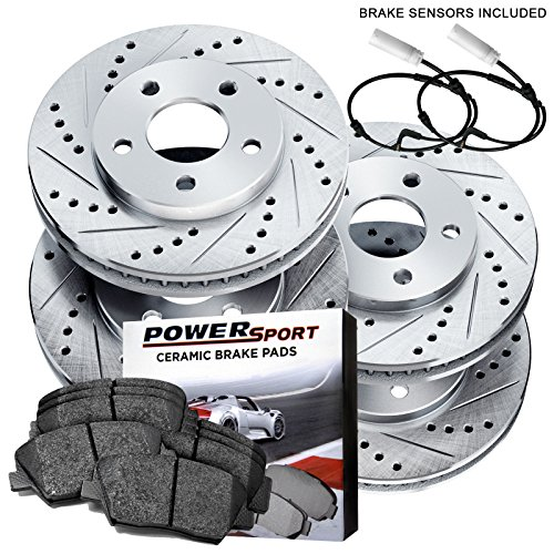 [FULL KIT] PowerSport Drilled Slotted Brake Rotors + Ceramic Pads BLCC.34042.02