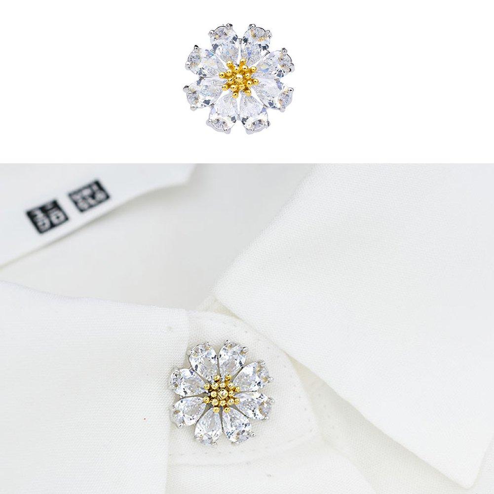 Joyci 1Piece Mini Exquisite Women's Brooch Pins Cardigan Pins Brooch Girl Flower Collar Button Diamond Herb Jewelry (Flower Safety Pin)