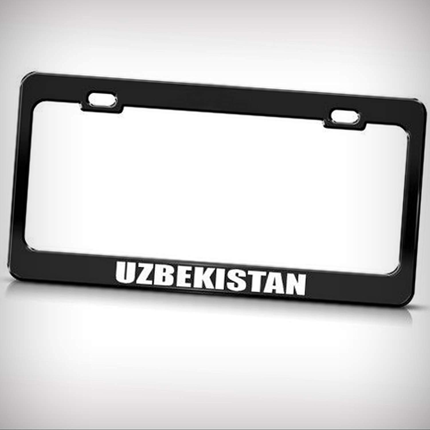UZBEKISTAN FLAG BLACK License Plate Frame Tag Holder
