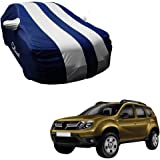 Autofurnish Silver Stripe Car Body Cover Compatible with Renault Duster - Arc Blue