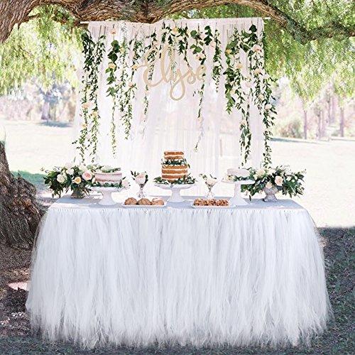 Aytai TUTU Table Skirt Tulle Tableware 100 x 80CM Wonderland Skirting Romantic for Wedding Christmas Party Baby Shower Birthday Cake Table Girl Princess Decoration(1, White) by Aytai (Image #2)