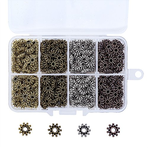 Pandahall 4 Colors Tibetan Flower Spacer Beads 8.5x3mm Cadmium Free & Lead Free & Nickel Free For DIY Jewelry Making (About - Caps Bead Daisy
