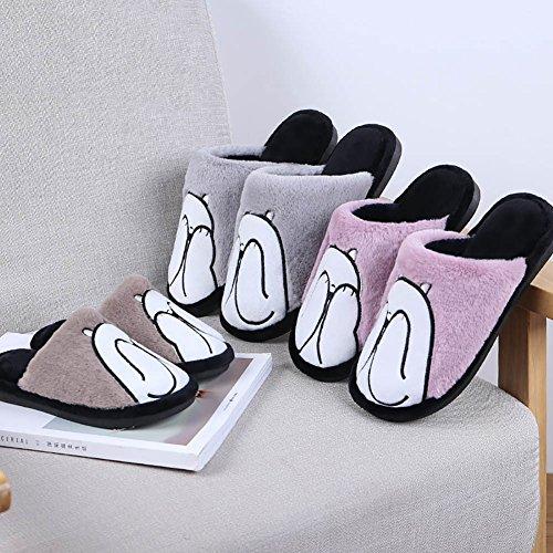 Slipper Soft CHUANGLI Closed Eltern Cute und Schuhe Toe rutschfeste House Slipper Grau Warmmer Kinder Indoor wrXa0qBr