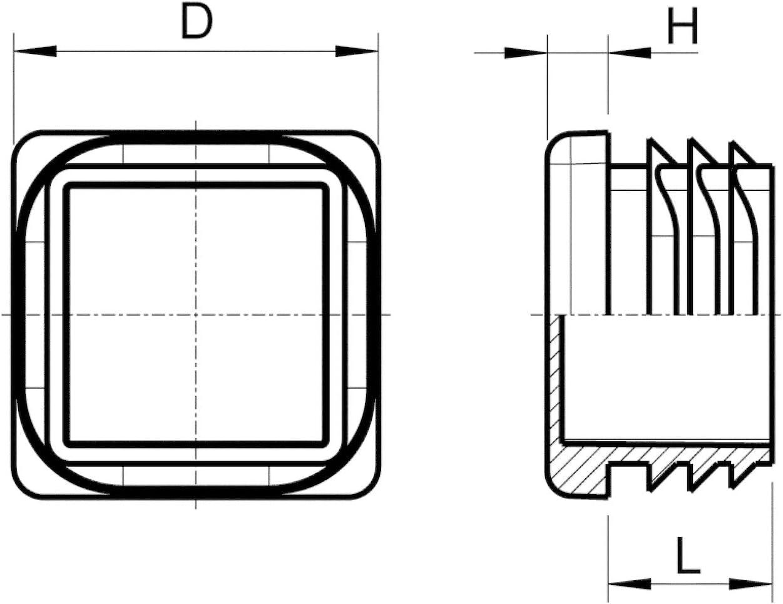 5 tapones de tubo cuadrados postes tapones de l/áminas protectores para muebles 70 x 70 mm vallas