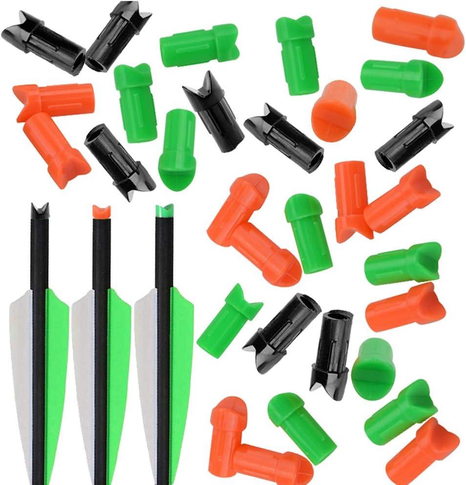 50Pcs Arrow Nocks ID8mm Plastic Tail Wood Bamboo Shaft Recurve Bow Hunting Shoot