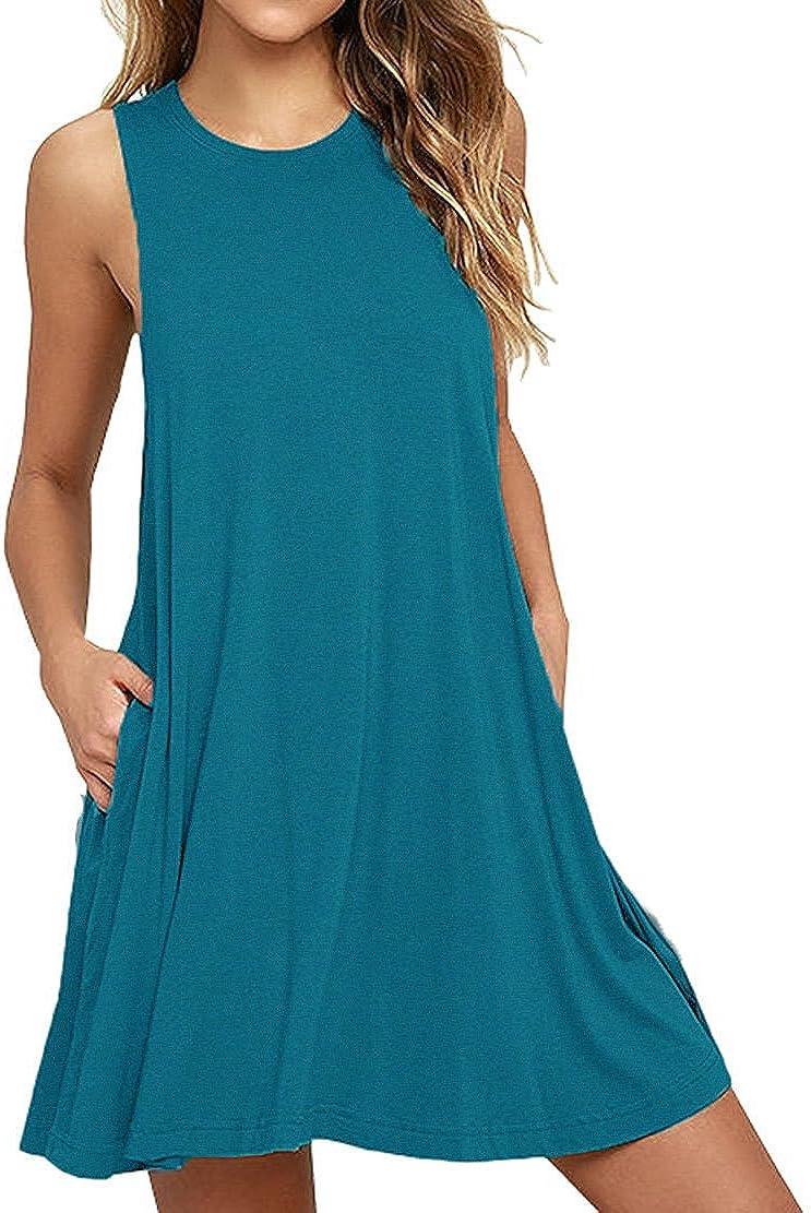 VWMYQ Girls Cotton Dress Long Sleeve Soild Color Casual T-Shirt Pocket Dress