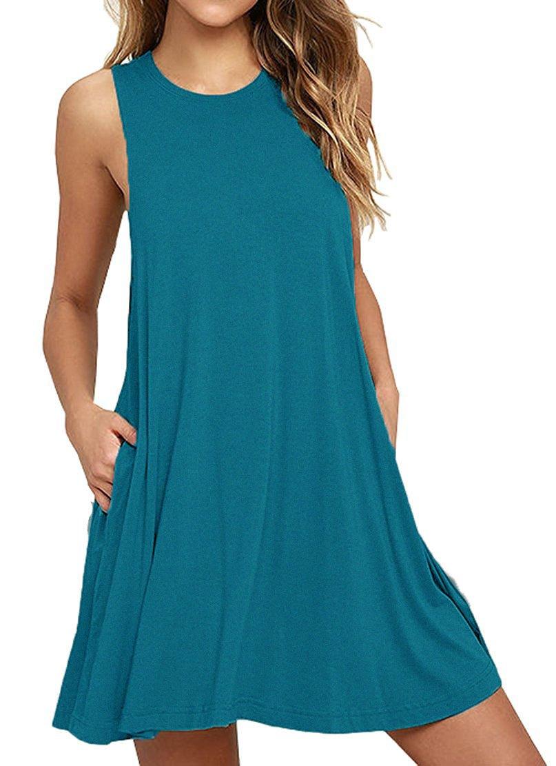 HAOMEILI Women's Sleeveless Pockets Casual Swing T-Shirt Summer Dresses L Acid Blue