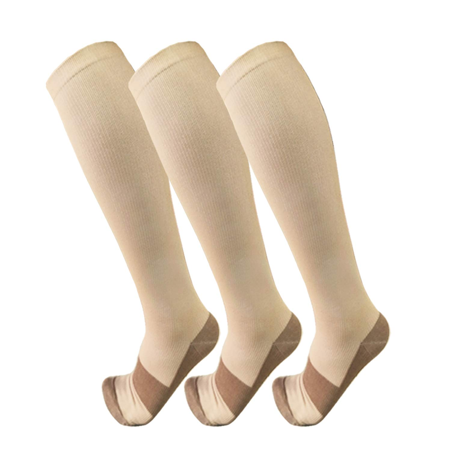 Copper Compression Socks For Men & Women(3 Pairs)- Best For Running,Athletic,Medical,Pregnancy and Travel -15-20mmHg (S/M, Nude)