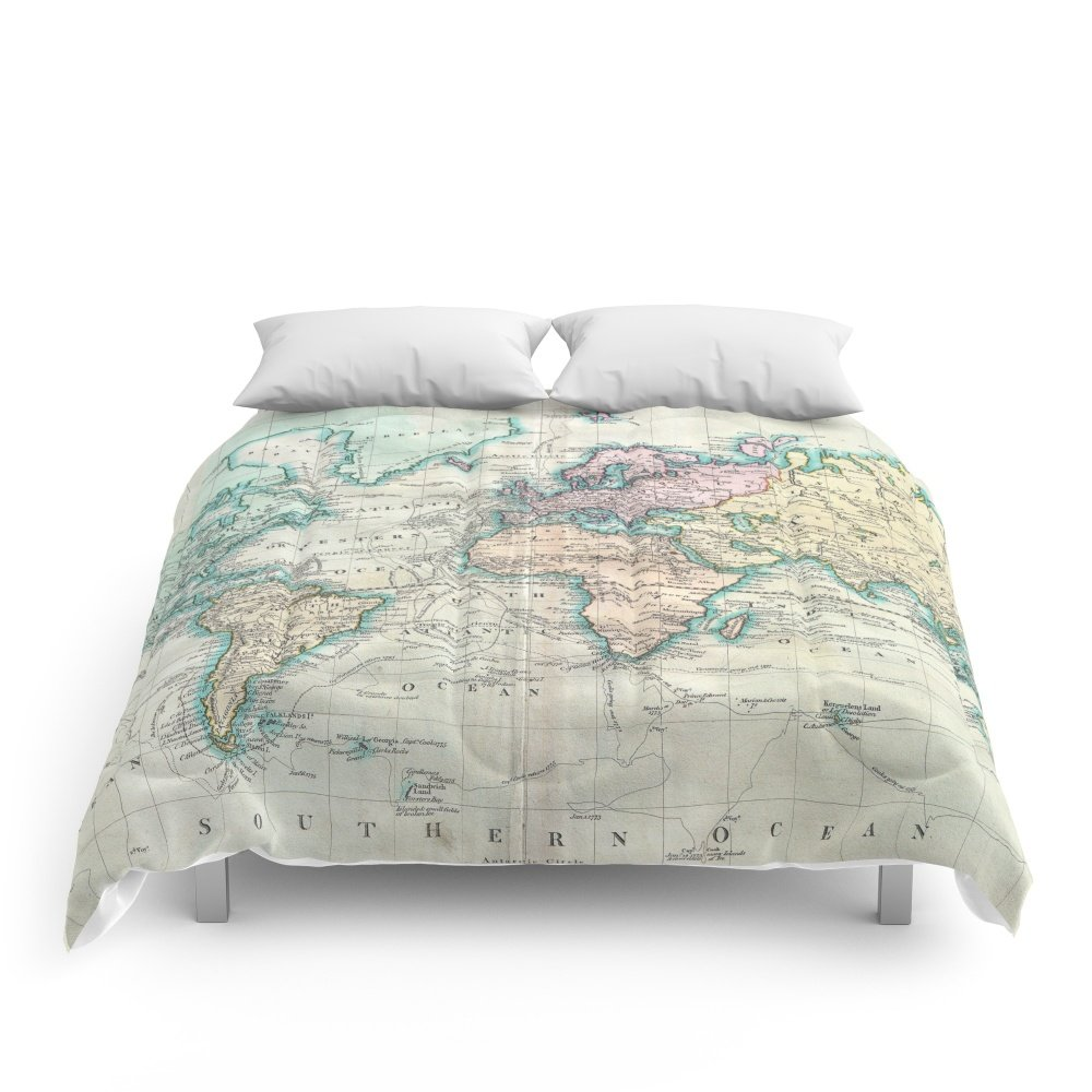 Society6 Vintage Map Of The World (1801) Comforters King: 104'' x 88'' by Society6