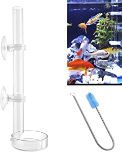 IAFVKAI 350mm Acrylic Aquarium Shrimp Feeding Tube with Fish Food Dish 2 in 1 Feeder Tube for Fish Tank with 2pcs Suction Cups and Stainless Steel 30cm Flexible Cleaning Brush