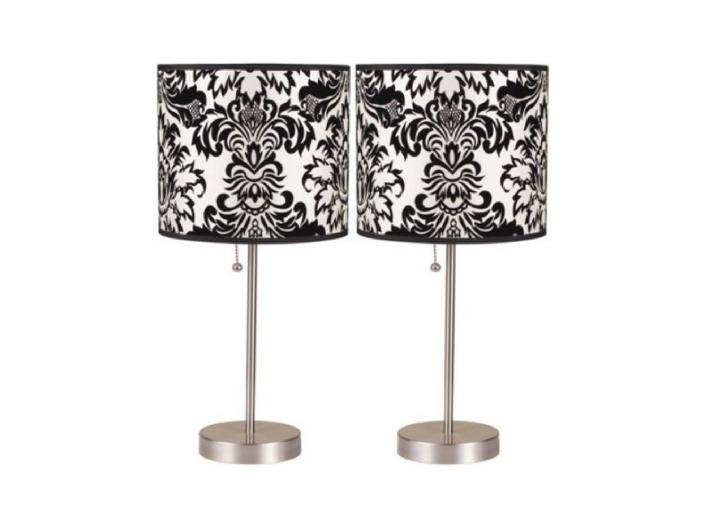 ORE International Table Lamp Accent 100-watts, Black/White set of two