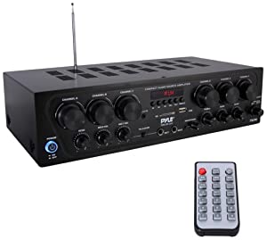 Upgraded 2018 Wireless Bluetooth Karaoke -6 Channel 750 Watt Home Audio Sound Power Stereo Receiver Amplifier w/ USB, Headphone, 2 Microphone Input w/ Echo, Talkover for PA- Pyle PTA62BT