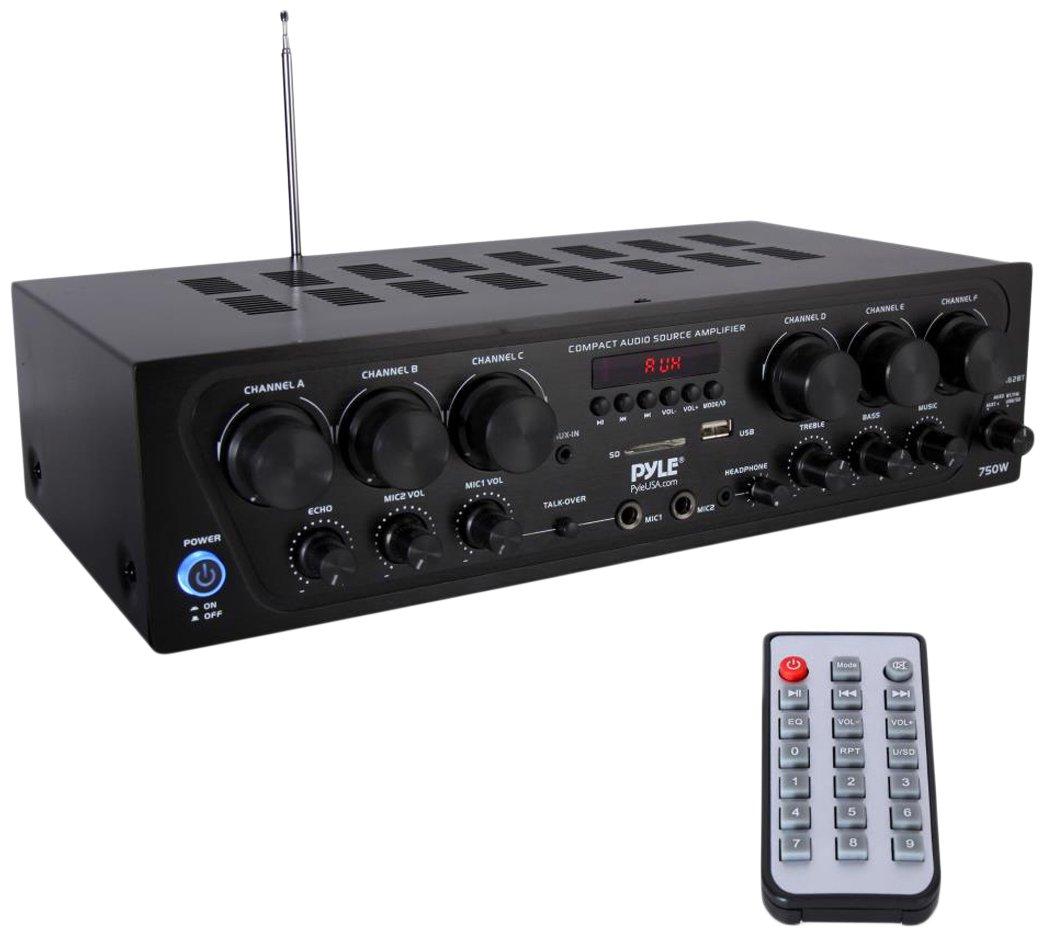 Upgraded 2018 Pyle Wireless Bluetooth Karaoke Stereo Receiver Amplifier - 6 Channel 750 Watt Home Audio Sound Power Amplifier w/ USB, Headphone, 2 Microphone Input w/ Echo, Talkover for PA - PTA62BT
