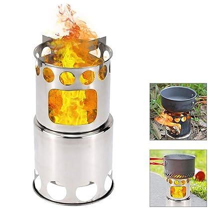 Ballylelly estufa de camping portátil al aire libre Quemadores de cocina de leña de acero inoxidable